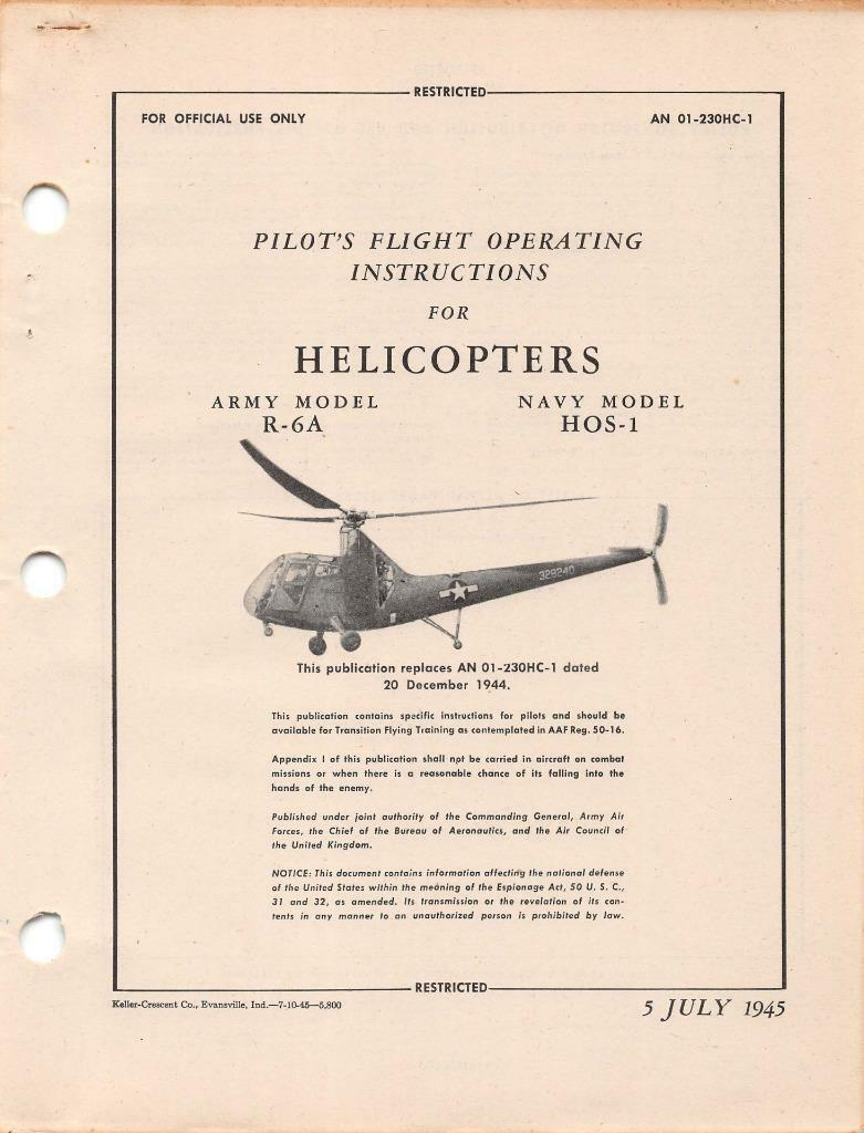 1945 aaf sikorsky r 6a hoverfly ii helicopter pilot flight manual rh picclick com Helicopter Cockpit Controls UH-1H Helicopter Flight Controls