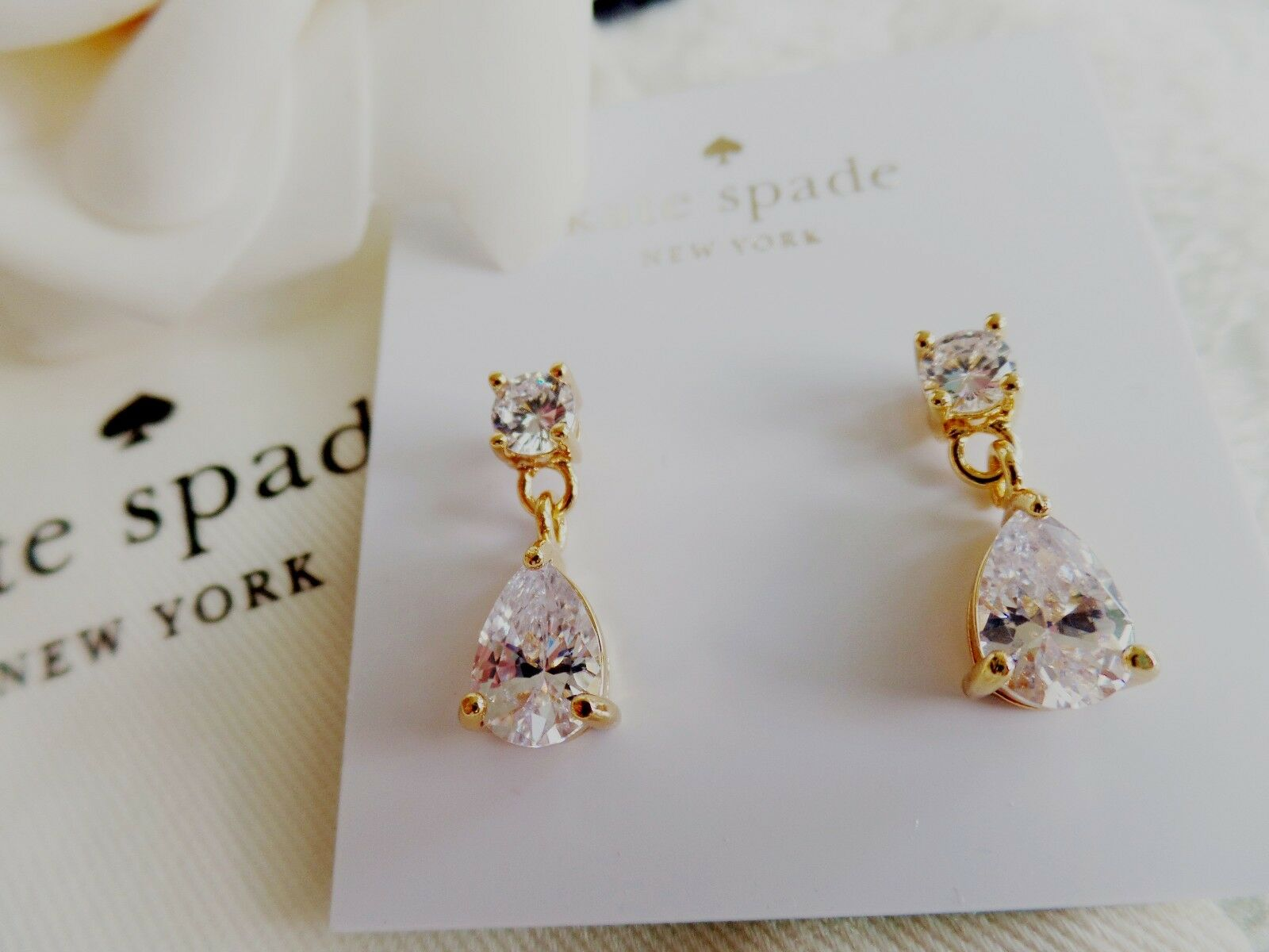 Kate Spade New York Gold Tone Crystal Drop Earrings Clear K0048 1 Of 6only 5 Available
