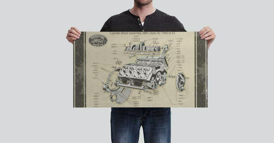 Flat Spot Vintage Flathead Diagram Vinyl Banner Hot Rod Rat V8 Motor Engine Diagrams Ford 8ba 1 Of 2