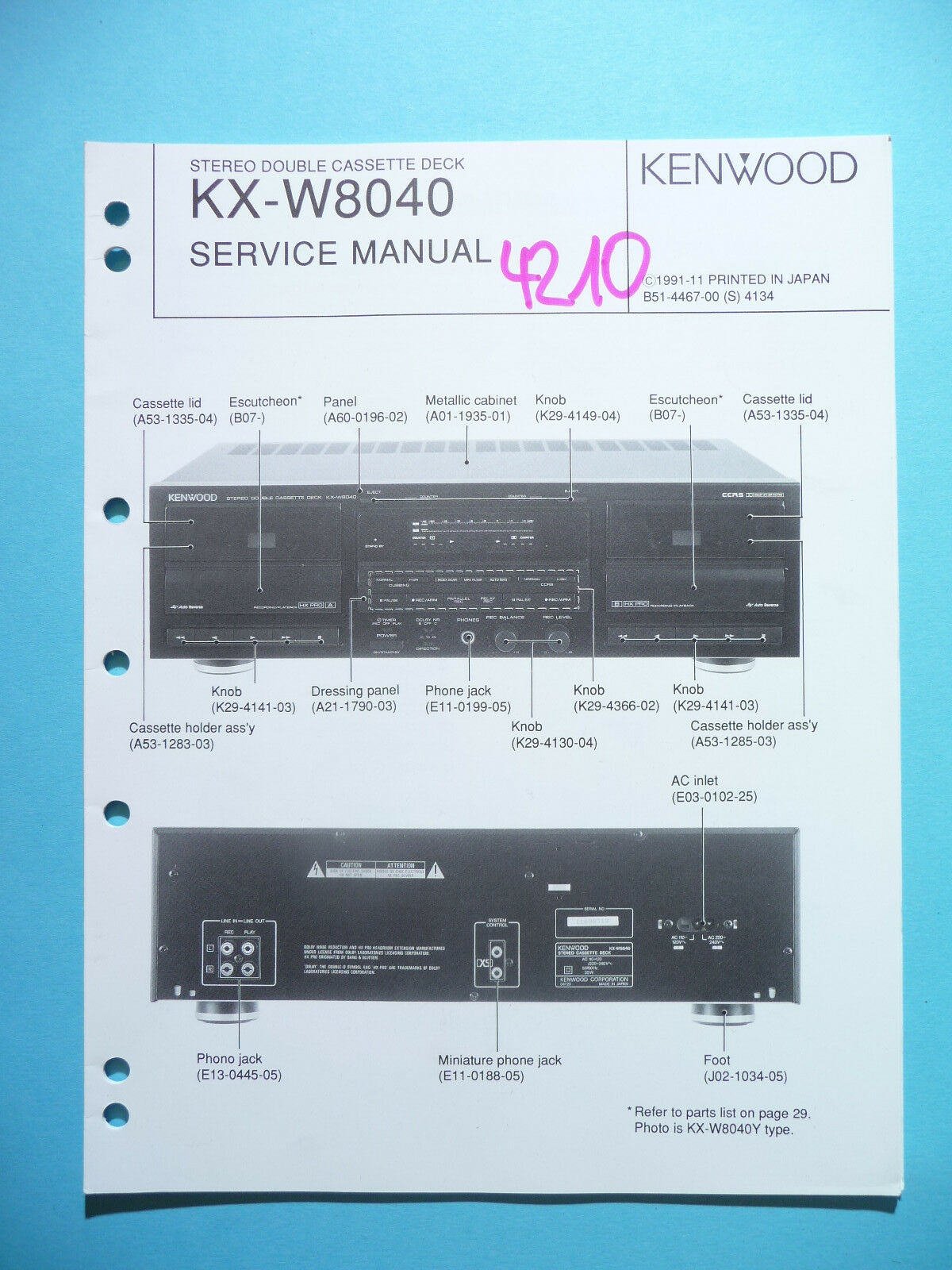 Service Manual Instructions for Kenwood KX-W8040, Original 1 of 1Only 1  available ...