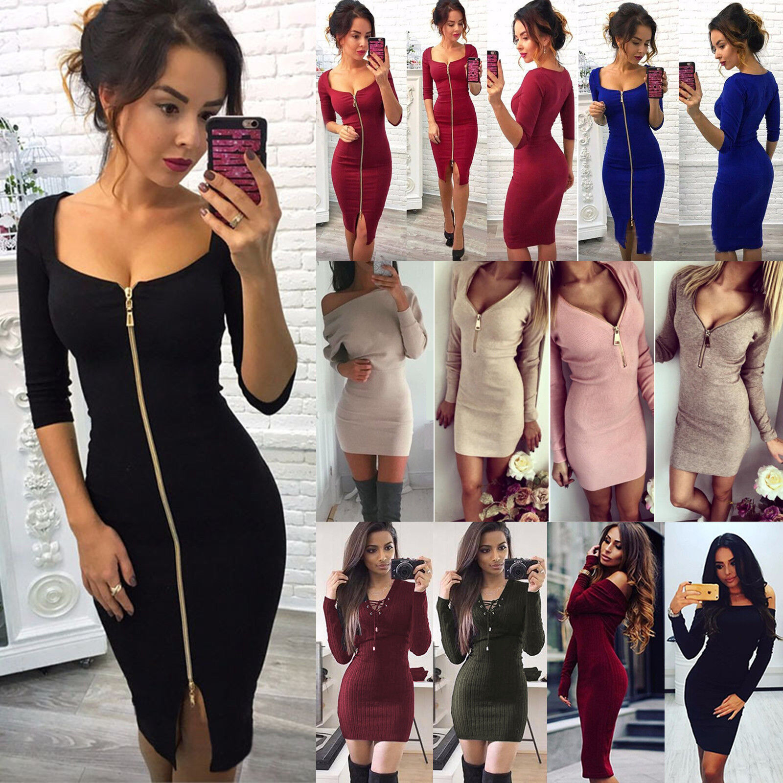 DAMEN WINTER BODYCON Strickkleid Pullikleid Pullover Party ...
