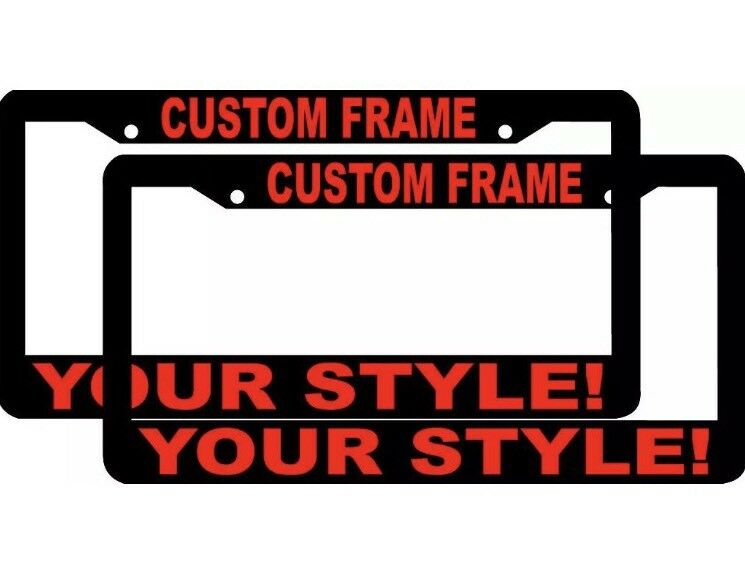 2 CUSTOM PERSONALIZED BLACK WITH RED LETTERS customized License ...