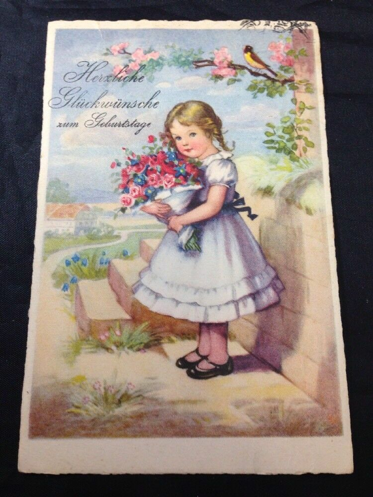 Vintage German Birthday Card Illustrated Color Postcard Posted Early