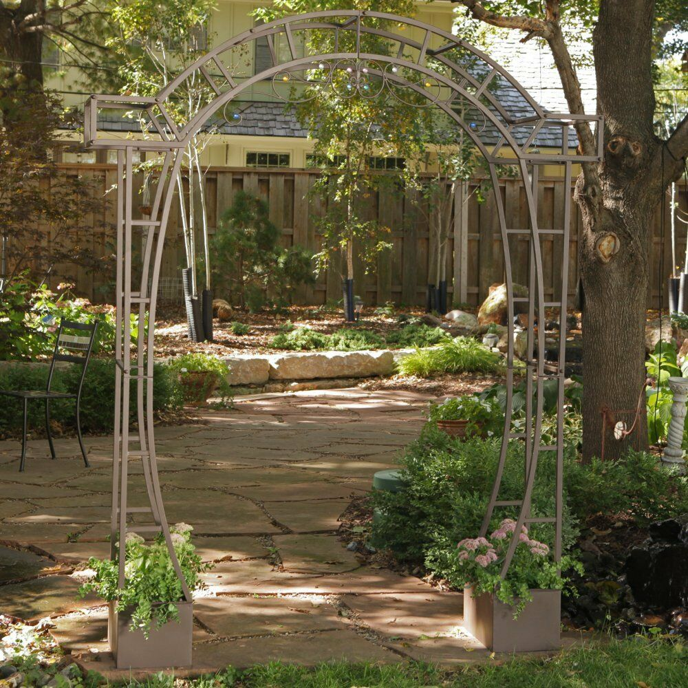 BROWN FINISH IRON Metal Beaded Garden Arbor With Planter Boxes ...
