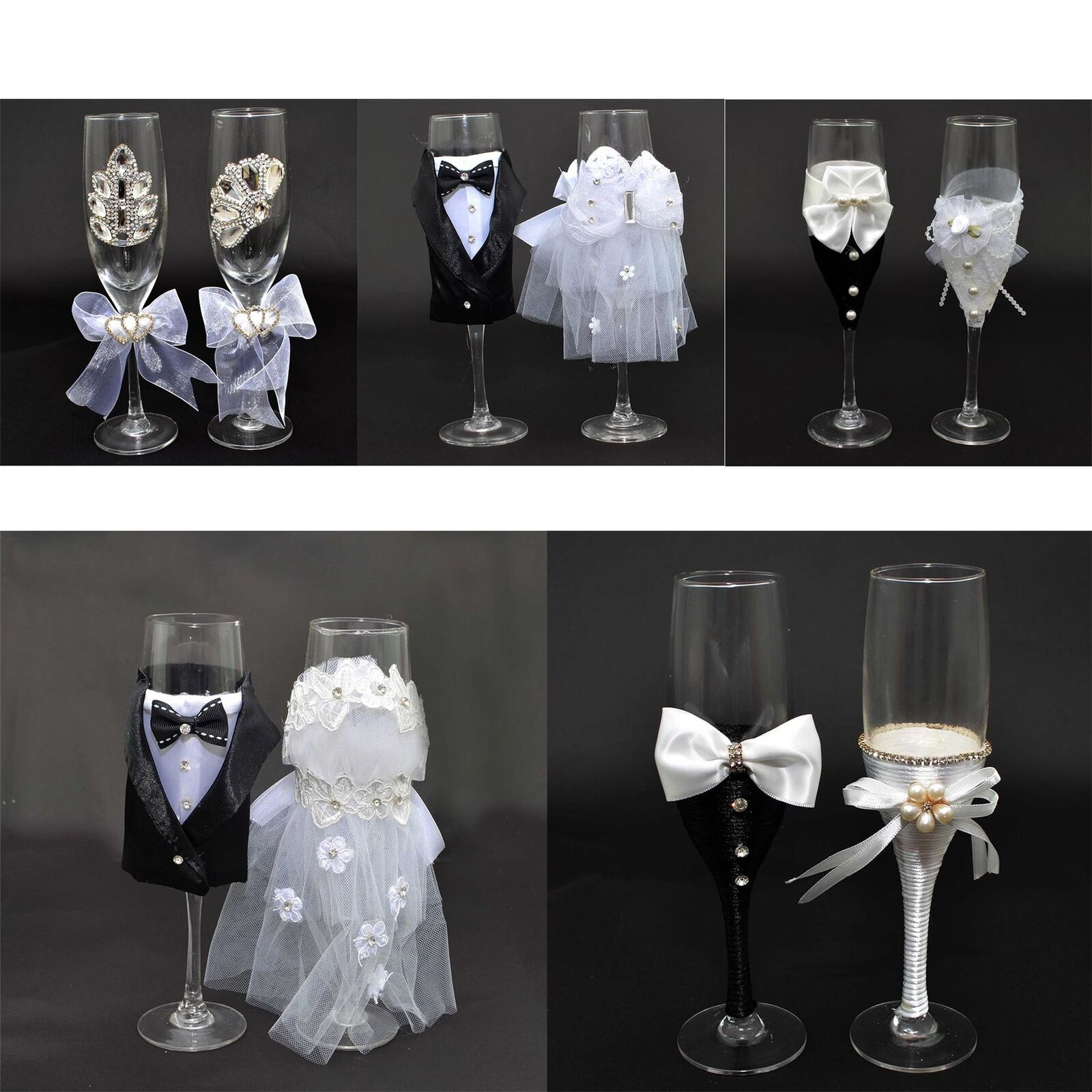 Bride Groom Mr Mrs Champagne Glasses Flutes Pair Toasting Wedding