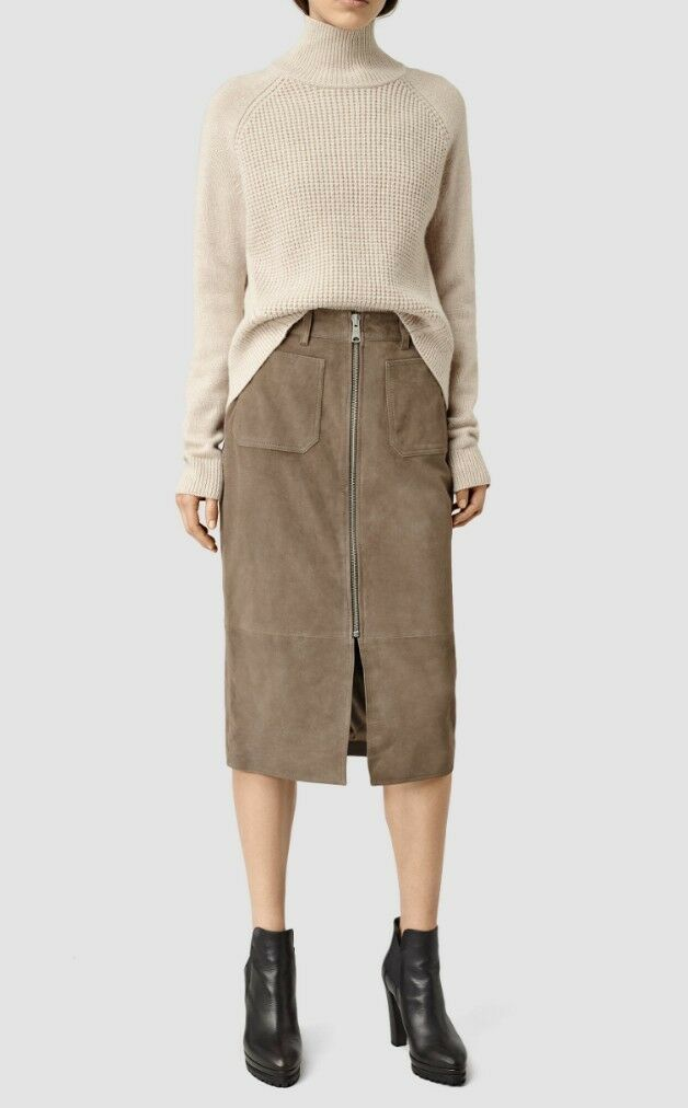 Allsaints Arel Suede Pencil Skirt Leather Khaki Beige 1 Of 6only Available See More