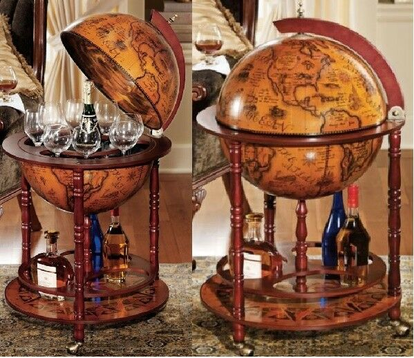 Globe wine bar cabinet antique old world map vintage solid wood globe wine bar cabinet antique old world map vintage solid wood bottle storage 1 of 11only 1 available gumiabroncs Choice Image