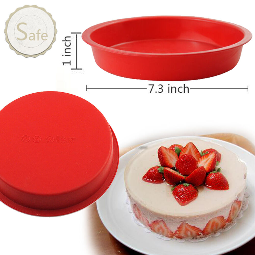 7 Round Silicone Cake Mold Pan In Chocolate Pastry Baking Tray Mould 1 Of 8free