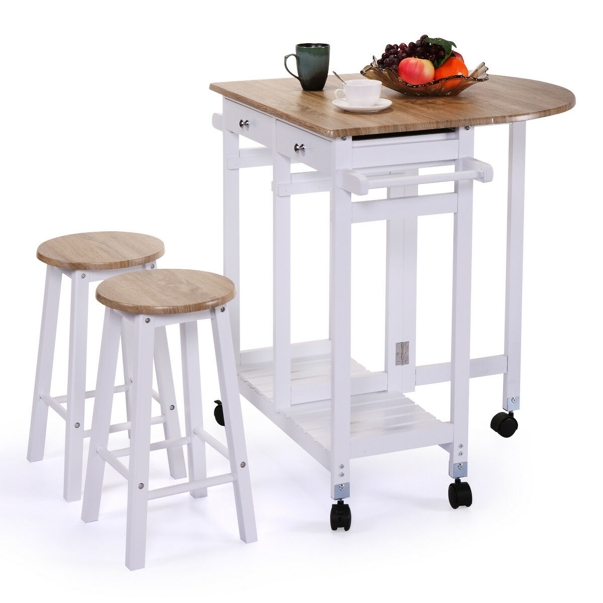 Rolling Kitchen Island Trolley Cart Drop Leaf Table W/ 2 Stools Home  Breakfast 1 Of 12FREE Shipping ...