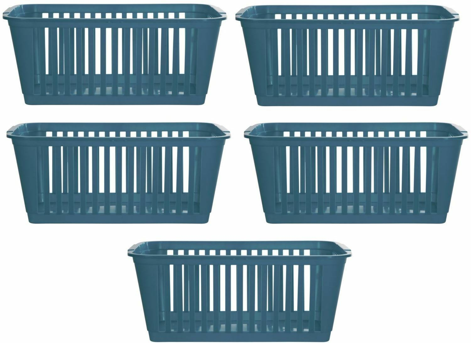 5X WHITEFURZE Plastic Nestable Handy Tidy Storage Basket Tray 25cm ...