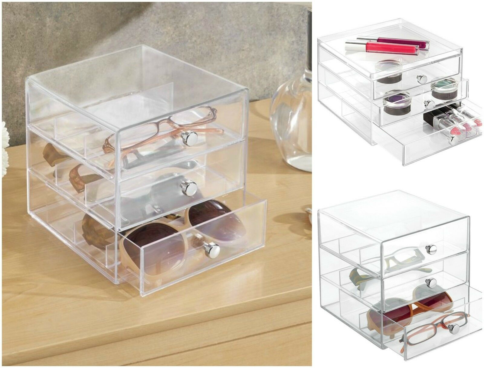 Sunglasses Organizer For Glasses Watches Eyeglass Storage Holder 3 Drawers  Clear 1 Of 12Only 1 Available ...
