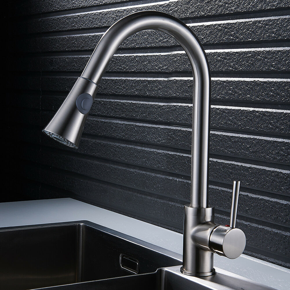 KITCHEN SINK MIXER Taps Pull Out Hose Spray Tap Monobloc Brushed ...