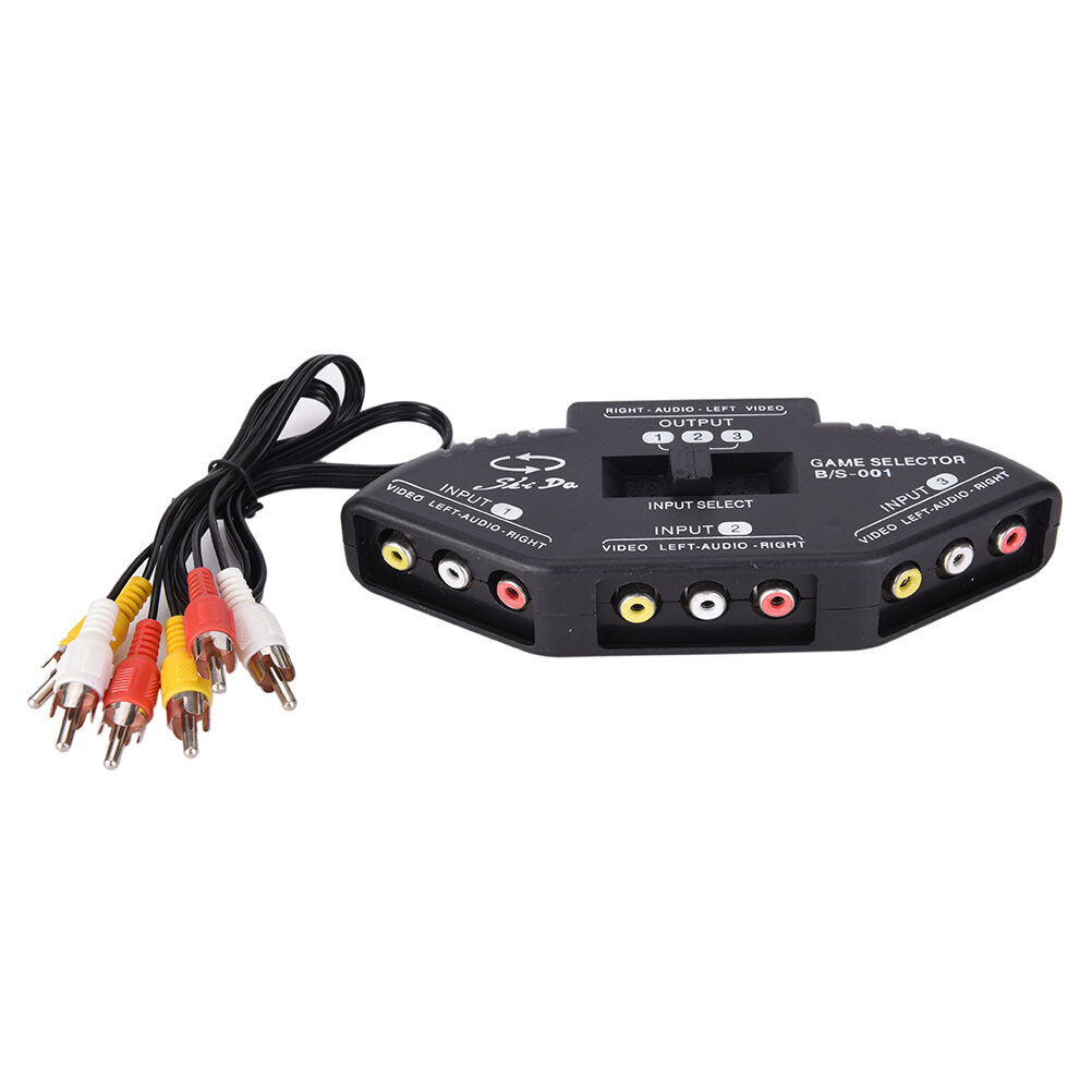 3 Way Audio Video Av Rca Switch Selector Box Composite Splitter With 2 1 Of 1free Shipping