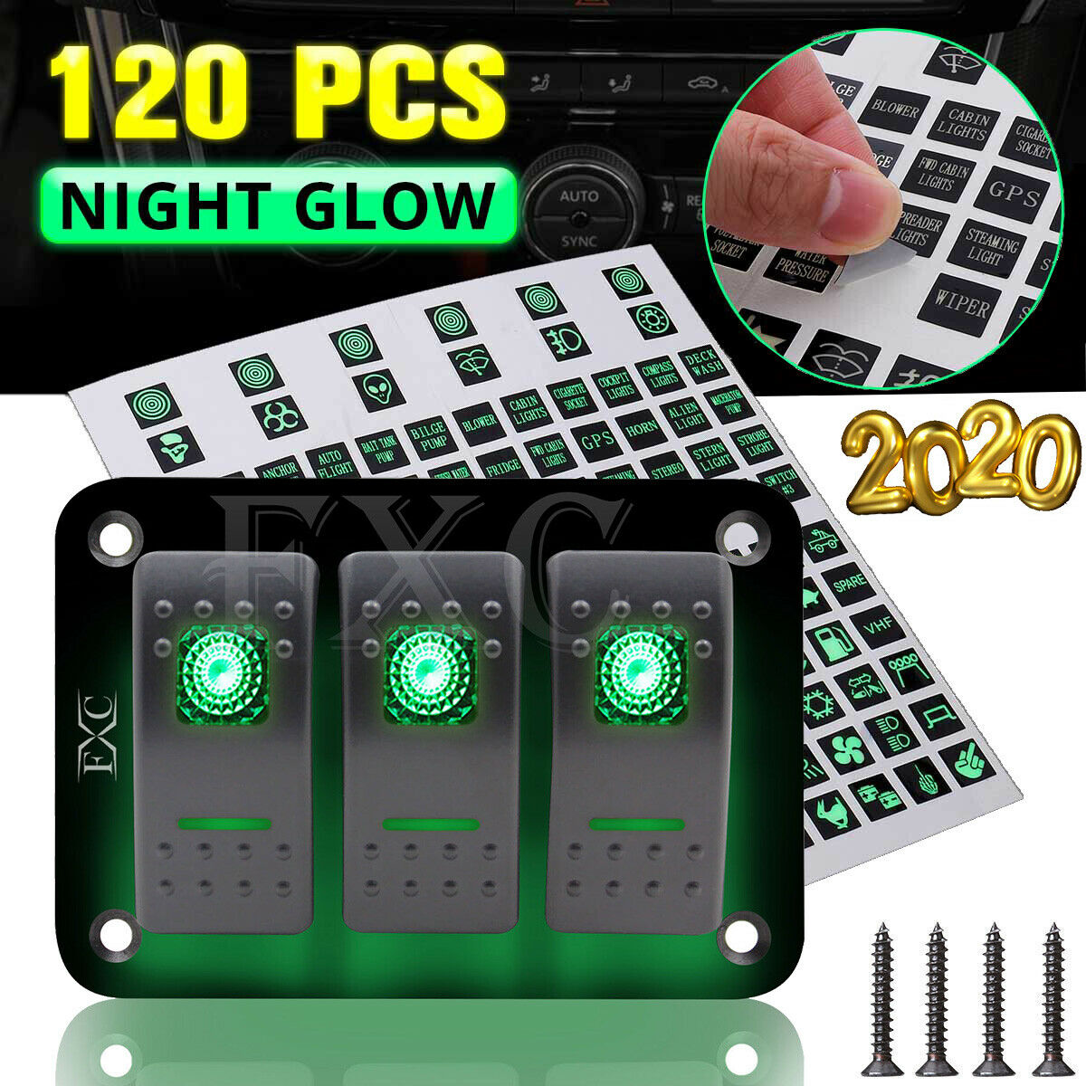 3 Gang Aluminium Led Rocker Switch Control Panel Circuit Breaker Car Boat Marine 4 Switches Ebay 1 Of 10free Shipping See More
