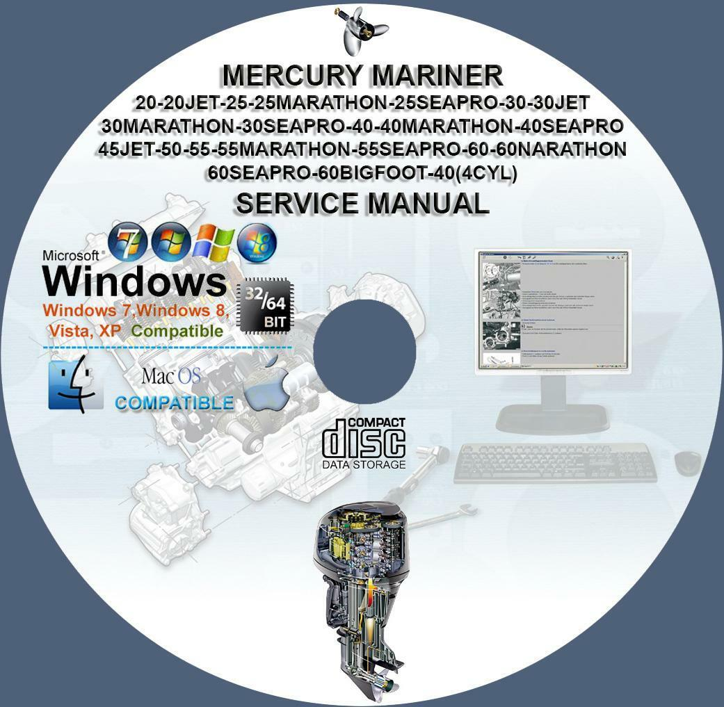 Mercury Two-Stroke 20 25 30 40 45 50 55 60 Mariner Service Repair Manual 1  of 1FREE Shipping See More