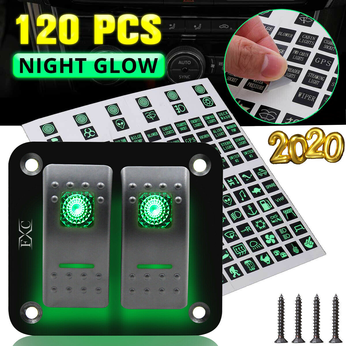 2 Gang Led Rocker Switch Panel Circuit Breaker Sticker For Rv Car Boat Marine 4 Switches Ebay 1 Of 9free Shipping