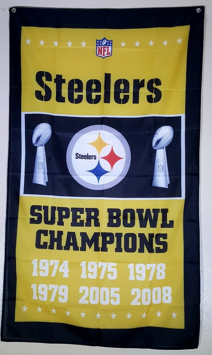 PITTSBURGH STEELERS SUPER Bowl Flag Banner 3x5 Ft Man Cave Wall ...