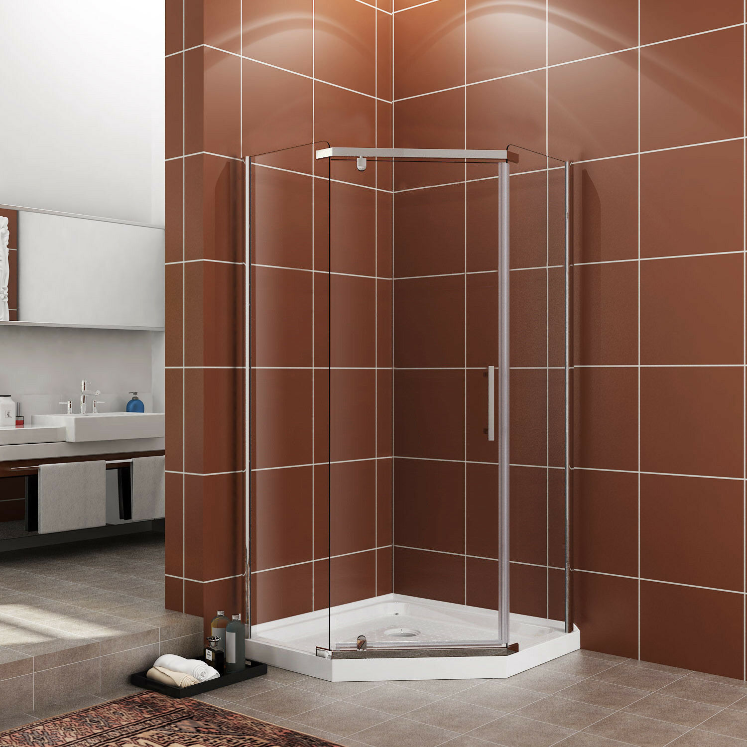 SUNNY SHOWER Neo-Angle Semi-Frameless Corner Shower door Enclosure ...
