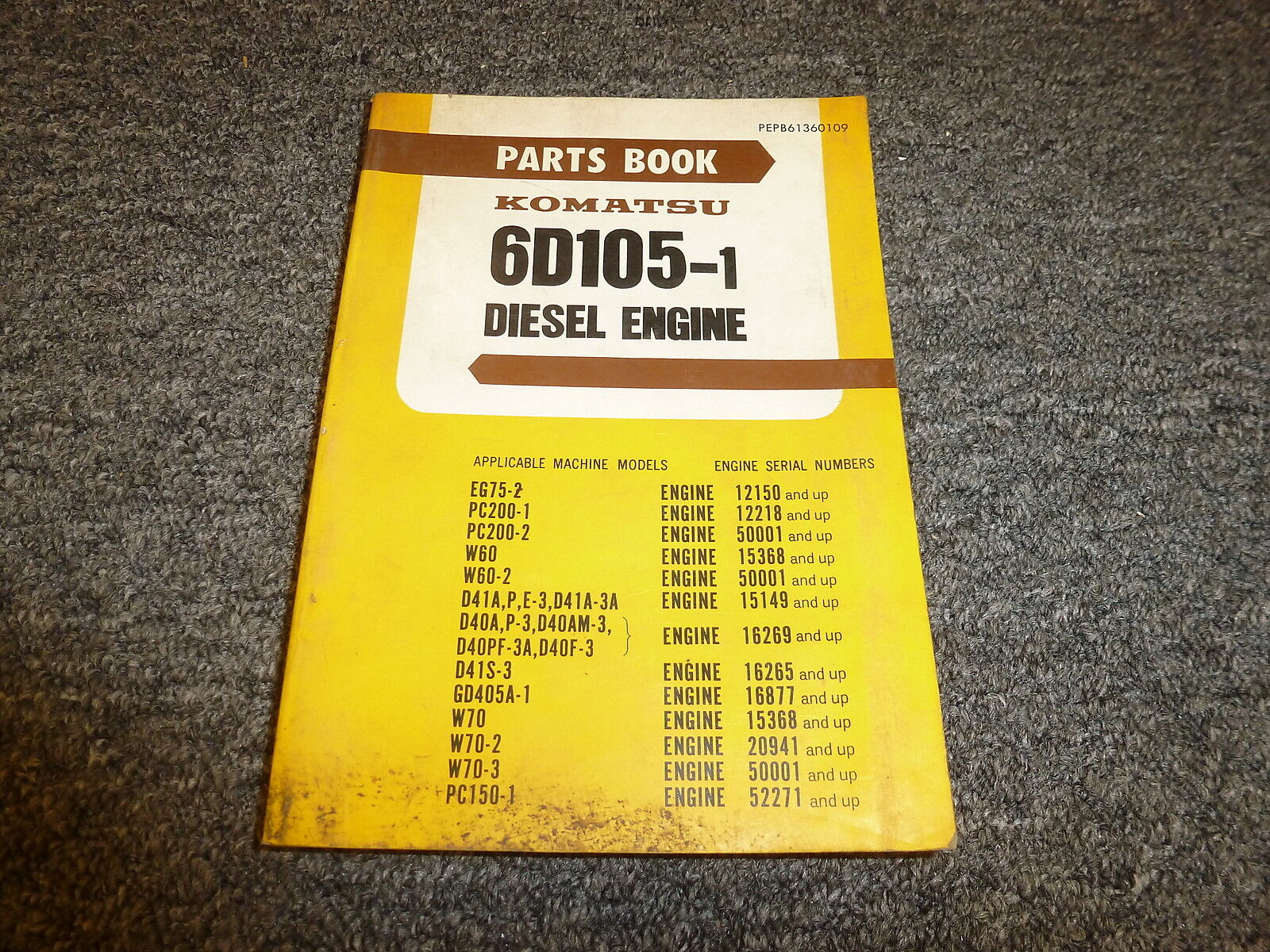 Komatsu 6D105-1 Diesel Engine Parts Catalog Manual 1 of 1Only 1 available  ...