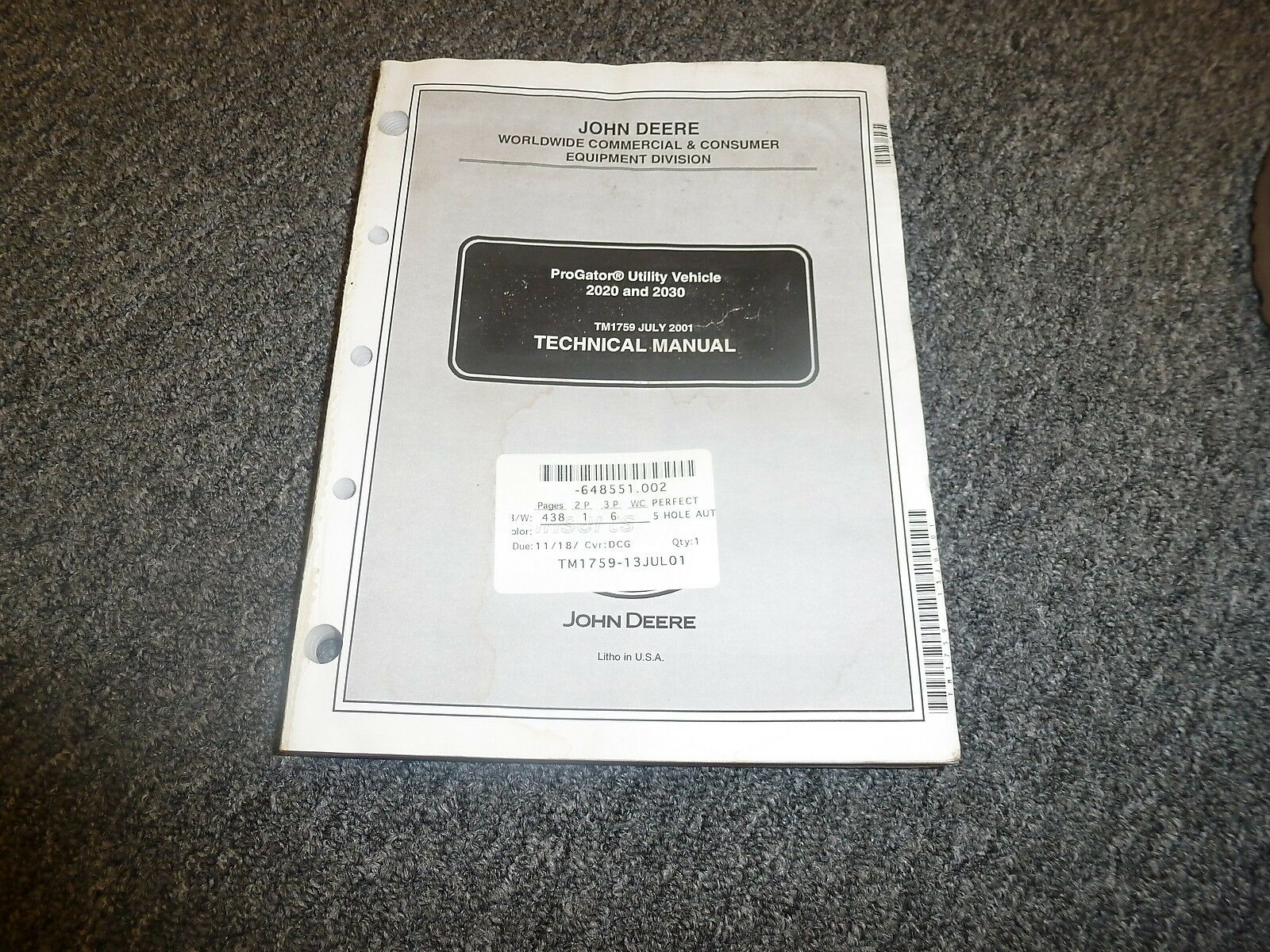 John Deere ProGator 2020 & 2030 Shop Service Repair Technical Manual TM1759  1 of 1Only 1 available ...