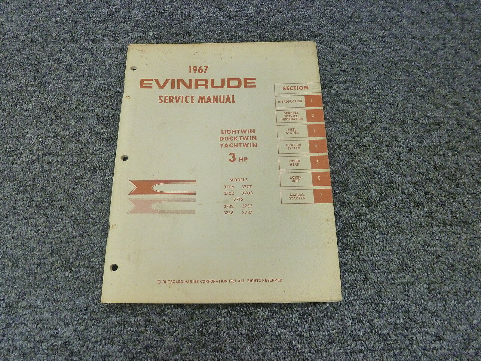 1967 Evinrude Lightwin Ducktwin Yachtwin 3 HP Model Shop Service Repair  Manual 1 of 1Only 1 available ...