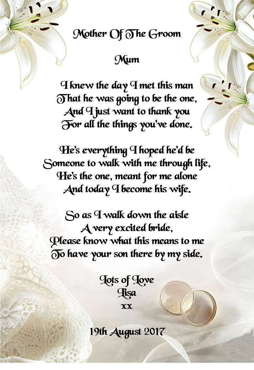 Wedding Day Thank You Gift Mother Of The Groom From Bride Poem A4