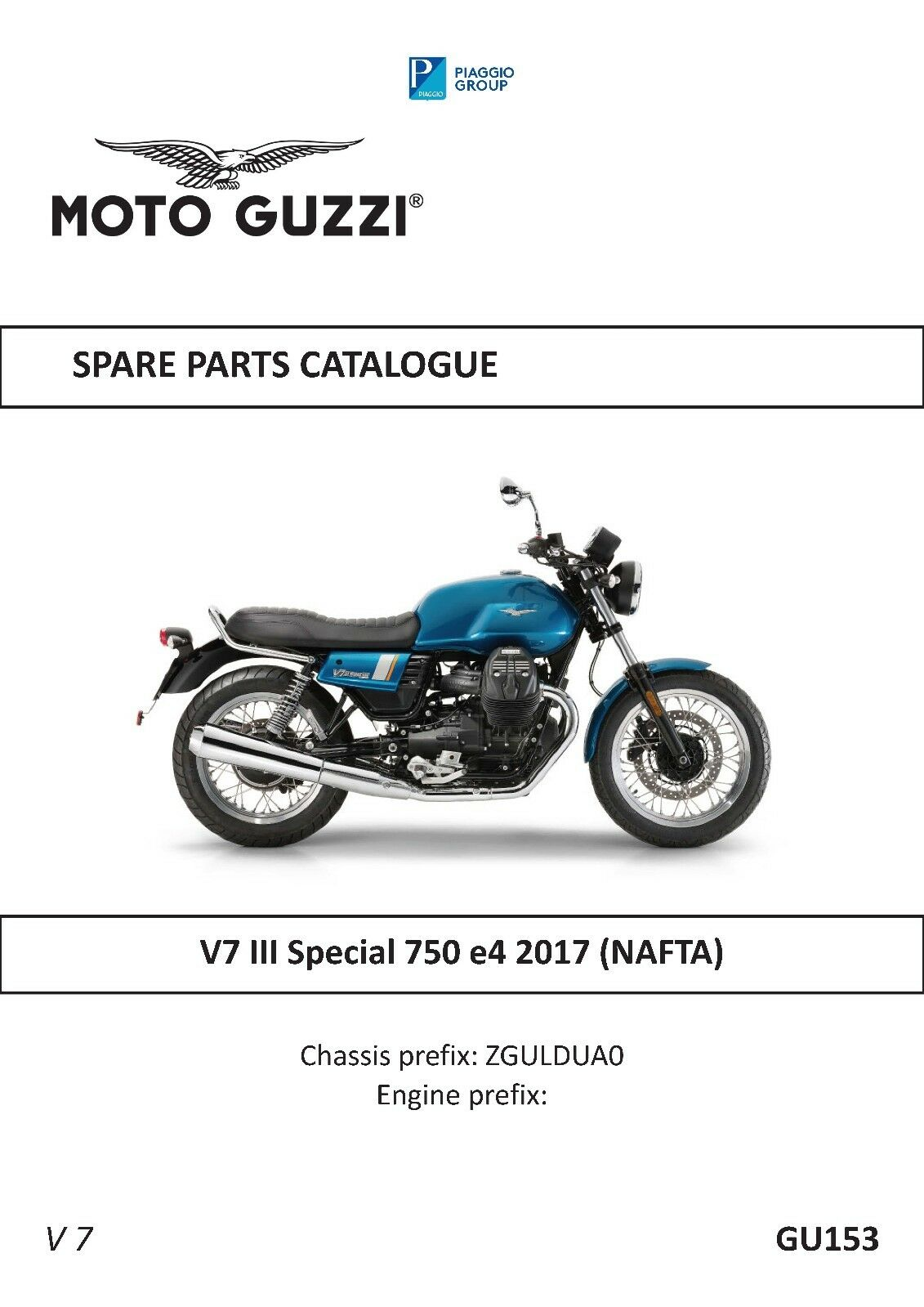 Moto Guzzi Parts Manual Book 2017 V7 Iii Special 750 E4 1750 Motorcycle Engine Diagram 1 Of 12only Available