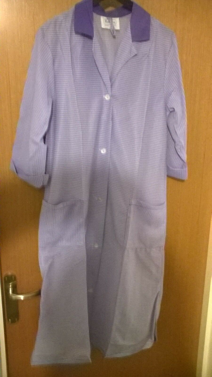 New Unworn Ladies Nylon Overall Vintage Pinny Purple Lilac Stripe 1 Of 6 See More
