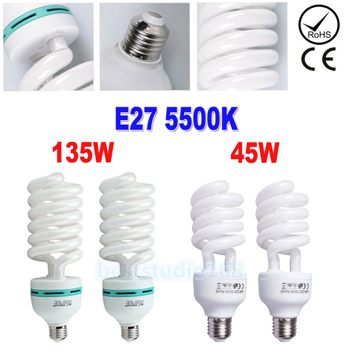 45w 135w E27 Photo Studio Bulb Lighting Photography Daylight Lamp Lampu Cfl 5500k 1 Of 10free Shipping
