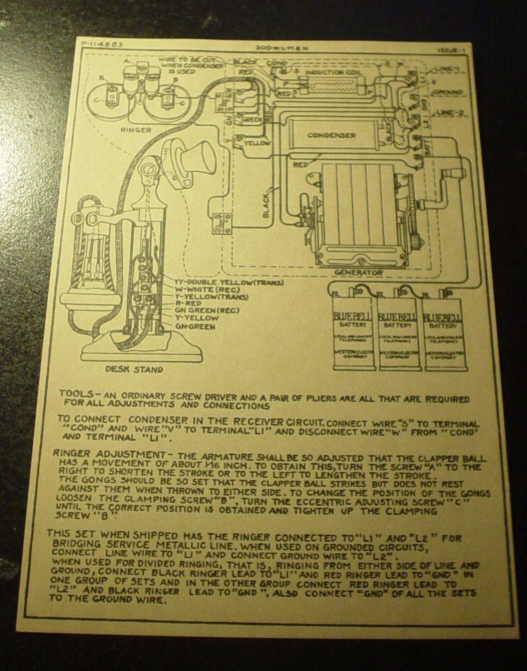 Western Electric Candlestick Desk Telephone Wiring Schematic Diagram 1 of 1  See More