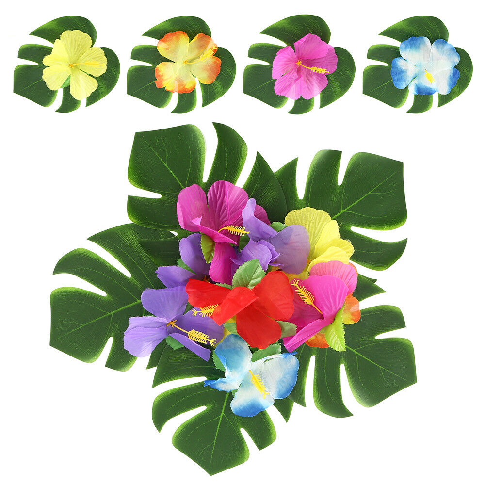 60pcs Tropical Leaves Hibiscus Flowers Artificial Fake Green Palm