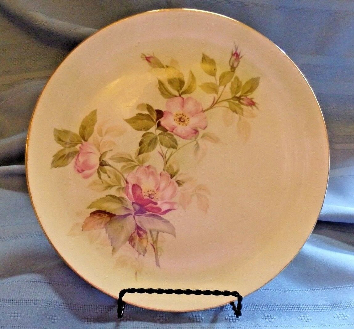 Glamour American Limoges China Pink Flower Briar Rose 9 14 Inch