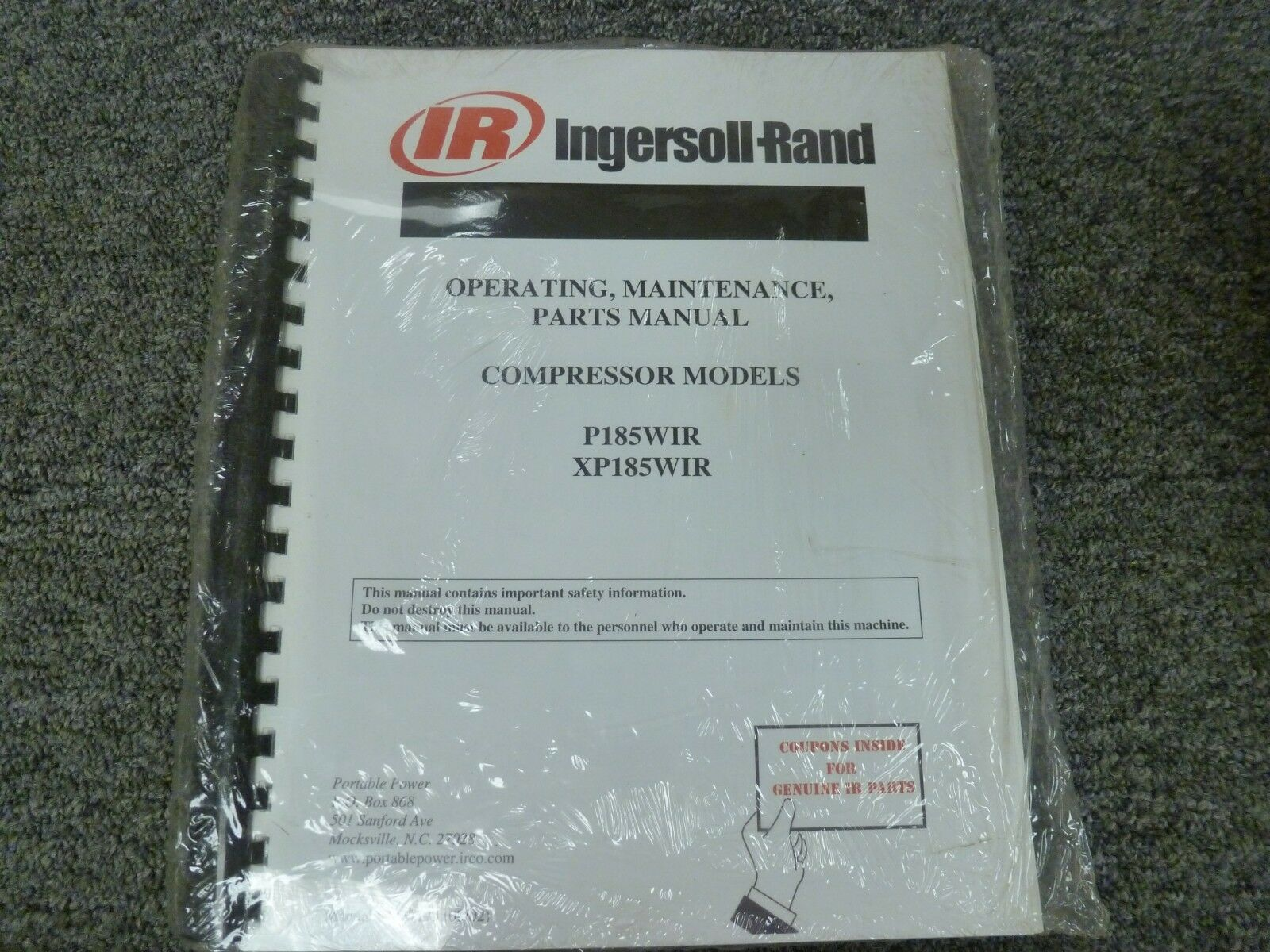 Ingersoll Rand P185WIR XP185WIR Air Compressor Parts Operator Maintenance  Manual 1 of 1Only 1 available ...