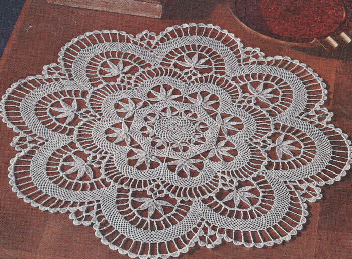 Crochet Patterns Vintage : Vintage Crochet PATTERN to make Cluny Lace Doily Centerpiece Mat ...