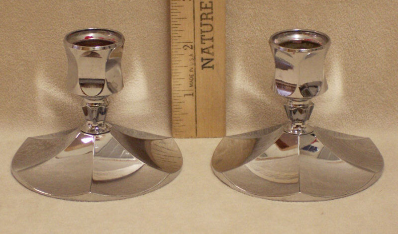 PAIR OF IRVINWARE CHROME CHANDLE STICK HOLDERS U.S.A.