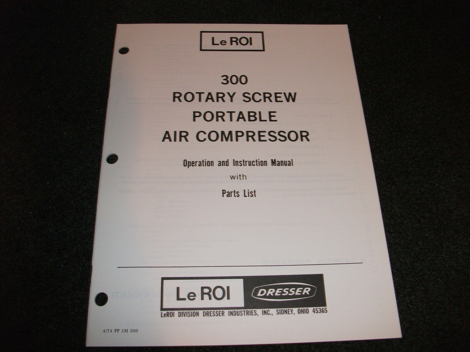 Le Roi 300 air compressor operation parts manual 1 of 1Only 1 available See  More