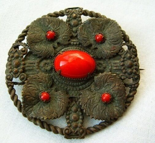 Antique old unique brass pin brooch red flowers