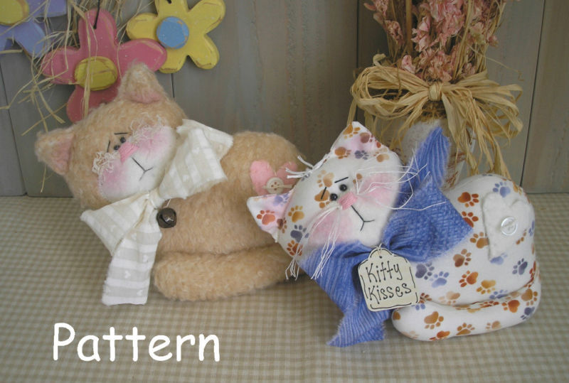 Pattern primitive raggedy kitty cat fabric cloth sewing - Cat clothing patterns free ...