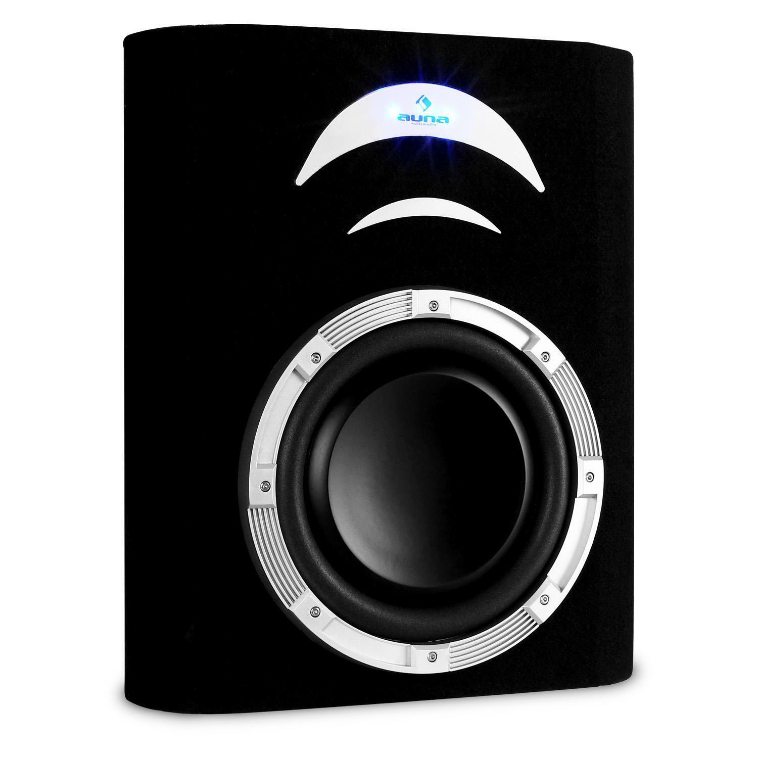 caisson de basses voiture subwoofer plat 25cm auto sono 500w effet lumineux led eur 59 99. Black Bedroom Furniture Sets. Home Design Ideas