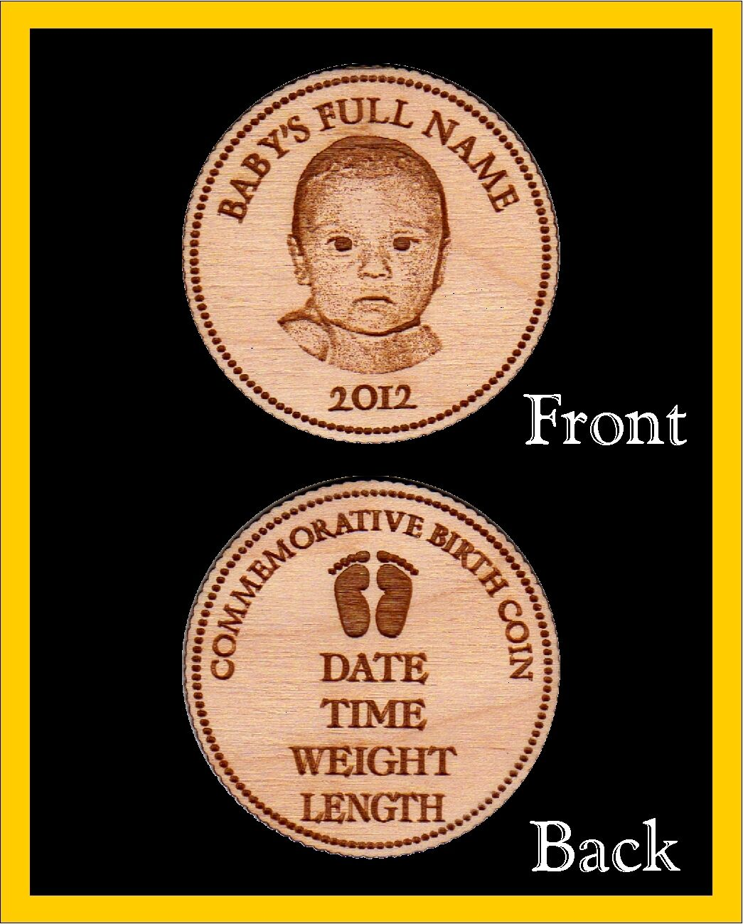 Baby Gift Gold Coin : Personalized engraved wood commemorative birth coins