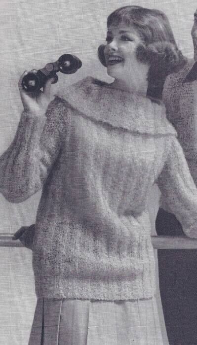 Vintage Knitting Pattern Knitted Turtle Neck Mohair Bulky Sweater
