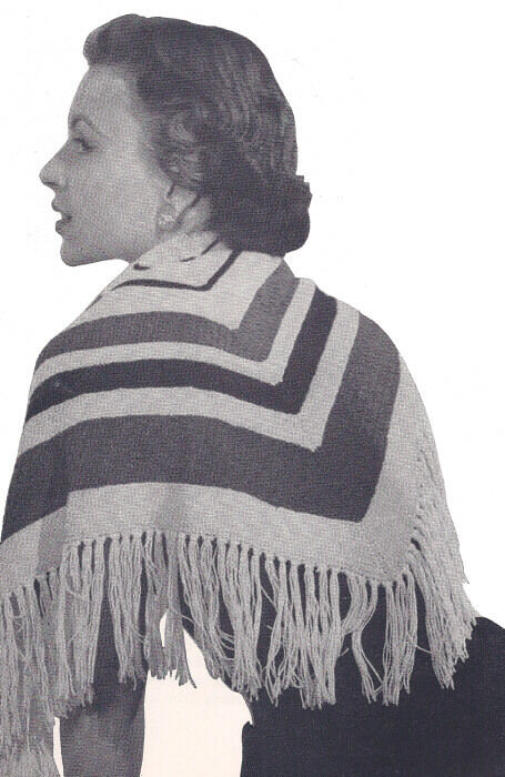 Knitting Pattern Triangle Head Scarf : Vintage Knitting PATTERN to make Knitted Striped Triangle Shawl Wrap Scarf   ...