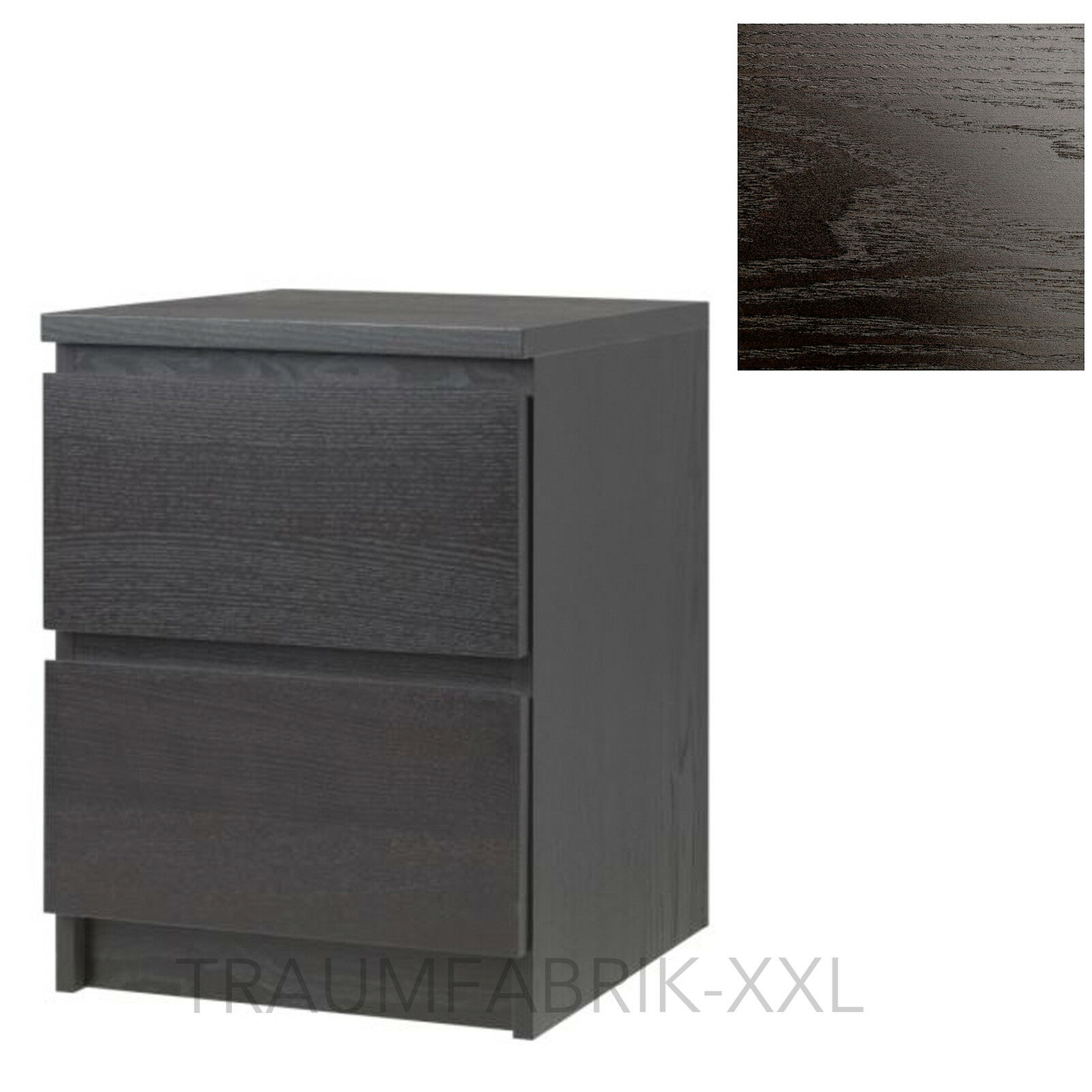 ikea kommode schrank mit 2 schubladen schwarz braun. Black Bedroom Furniture Sets. Home Design Ideas