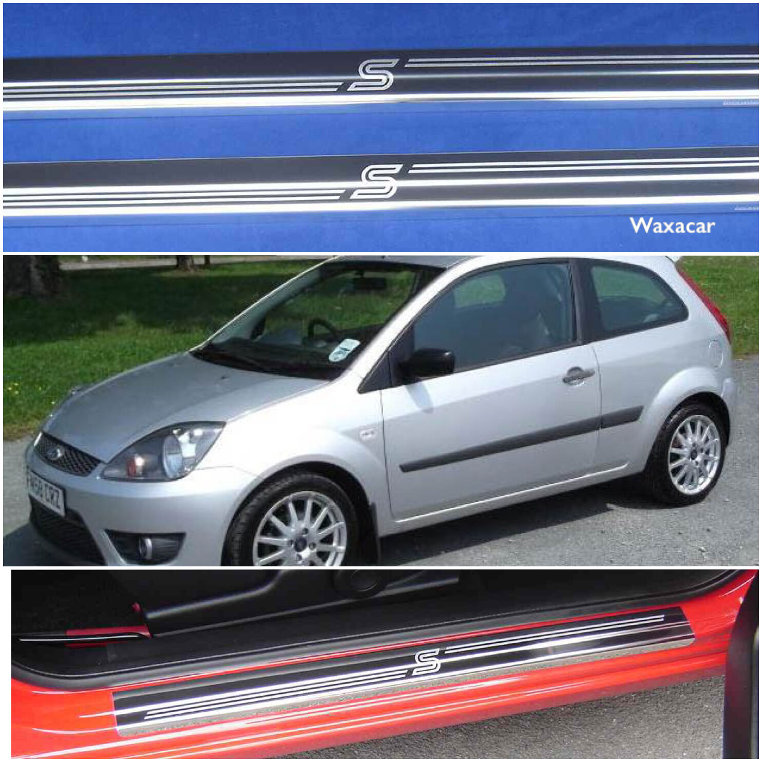 ford fiesta zetec s 02 08 stainless steel kick plate door sill protectors k49. Black Bedroom Furniture Sets. Home Design Ideas