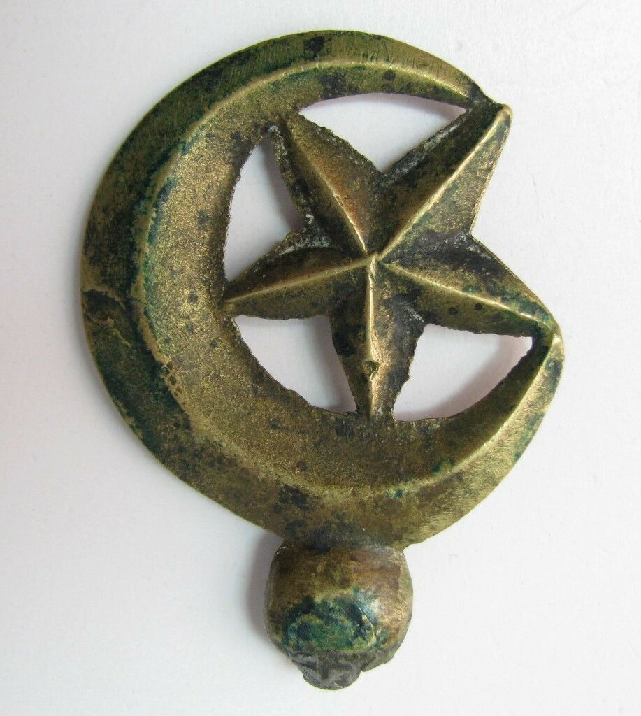 Antique Ottoman Turkish Finial? For Mounting Half Moon And Star Symbol Turkey >>