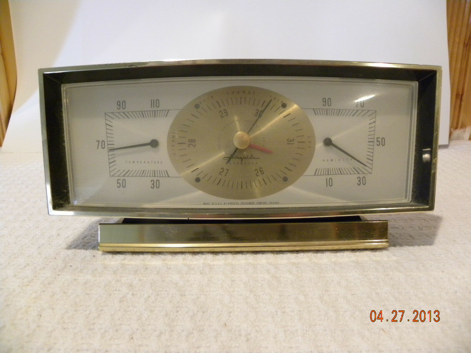 Vintage Airguide Barometer Leeson M84t17db1a Motor Wiring Diagrams 35 00 Picclick Rh Com Thermometer Banjo 29