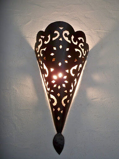 40 cm applique murale marocaine fer forg lampe lustre lanterne orientale. Black Bedroom Furniture Sets. Home Design Ideas
