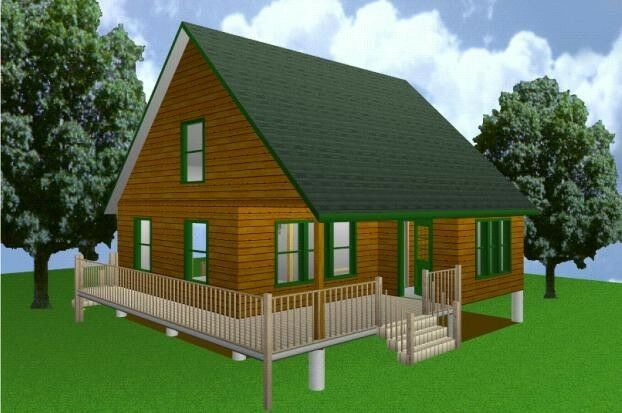 28x28 cabin w loft plans package blueprints material for W loft