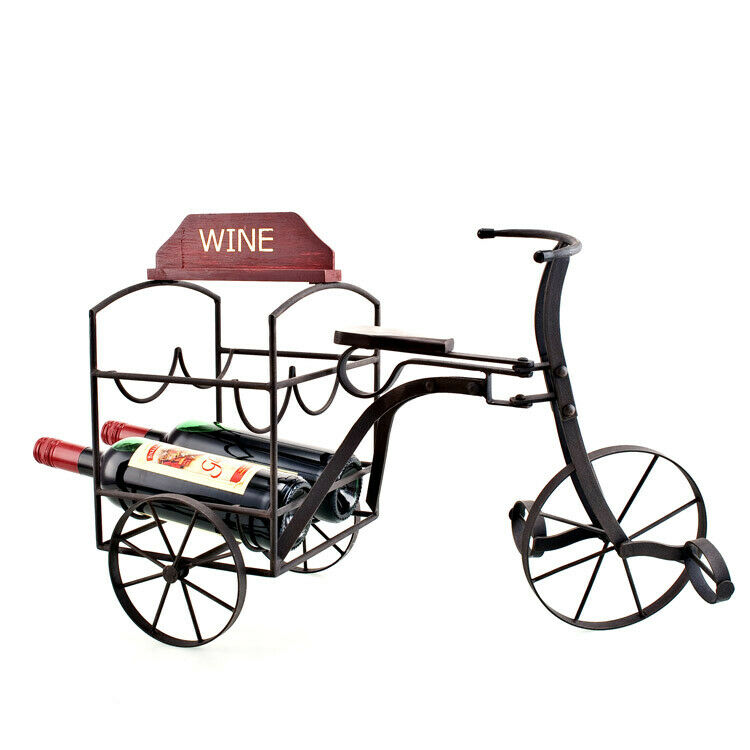 Rustic Metal Tricycle Wine Bottle Holder