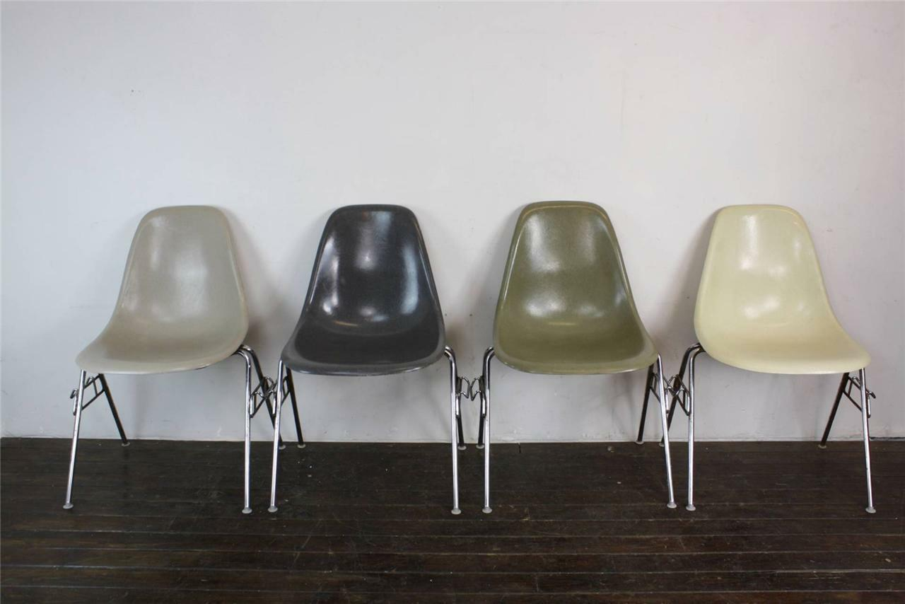 4x EAMES DSS CHAIRS HERMAN MILLER STACKING BASE 50s 60s UMBER /GREY/ GREIGE DSW